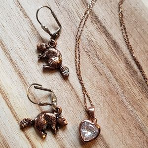 Set of copper 925 jewelry